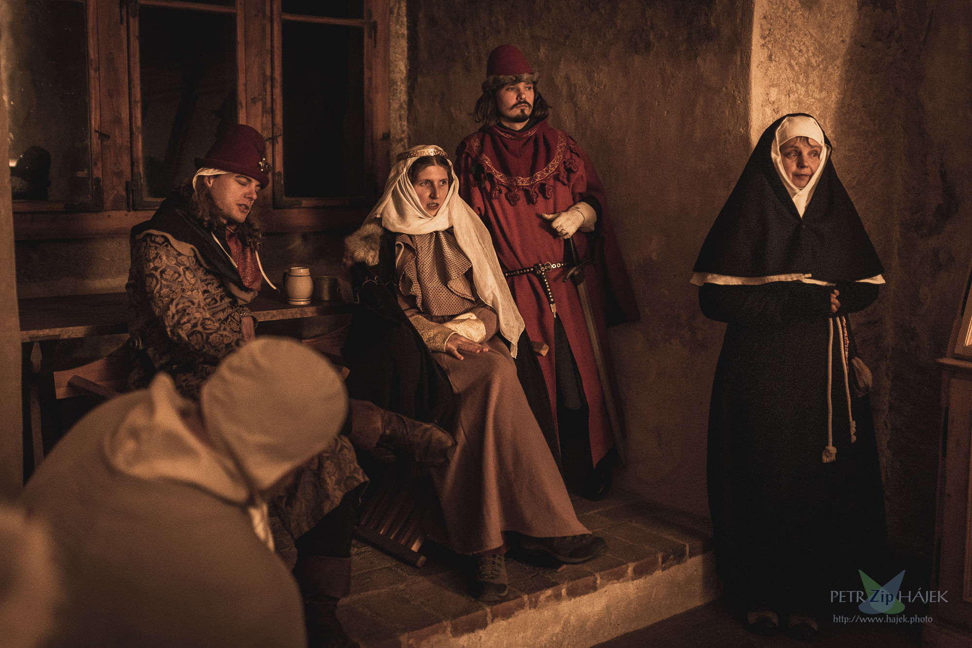 Medieval nobility - manor during larp Good people of Languedoc, authentic clothing