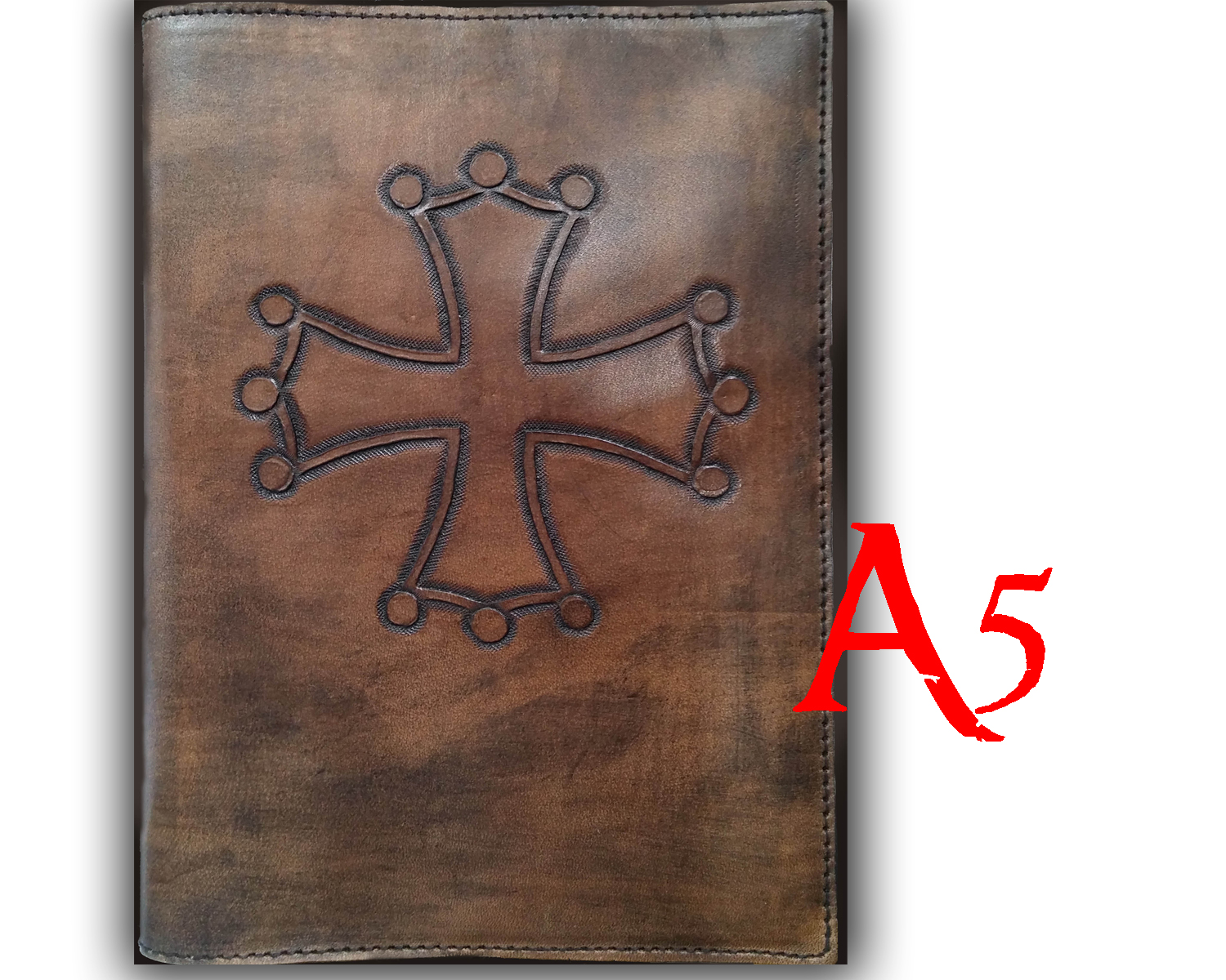 leather cover with Occitan cross for book or diary