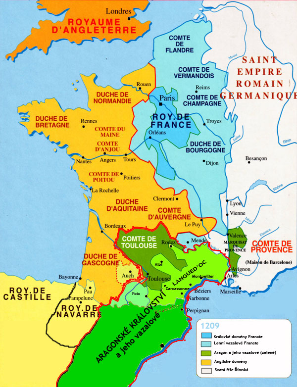 Map of France at the end of the 13th century